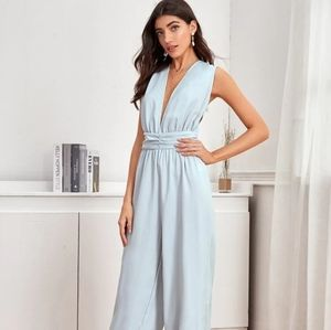New Plunging Neck Wide Leg Jumpsuit